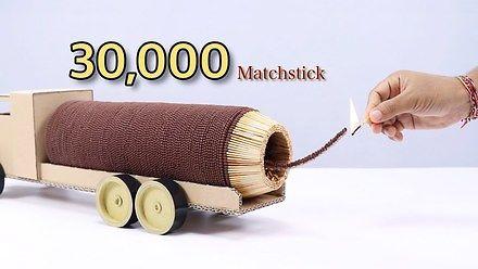 Odrzutowa ciężarówka z 30 000 zapałek