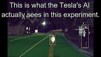 Projektor zawieszony na dronie sprawił, że Tesla zjechała na przeciwny pas