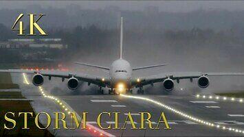 Huragan Ciara nad lotniskiem
