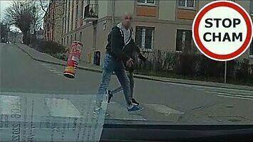 Agresywny pieszy w Gdańsku